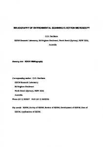 BIBLIOGRAPHY OF ENVIRONMENTAL SCANNING ELECTRON MICROSCOPY. G.D. Danilatos