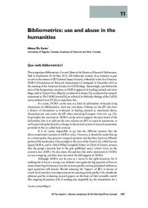 Bibliometrics: use and abuse in the humanities