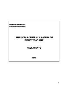 BIBLIOTECA CENTRAL Y SISTEMA DE BIBLIOTECAS UAP REGLAMENTO