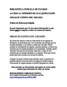BIBLIOTECA PUBLICA DE PAYSON MIRAR SU CUENTA DEL USUARIO