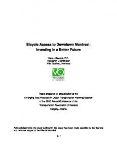 Bicycle Access to Downtown Montreal: Investing in a Better Future