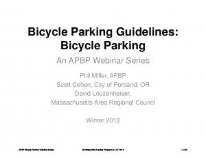 Bicycle Parking Guidelines: Bicycle Parking