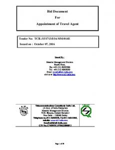Bid Document For Appointment of Travel Agent