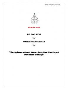 BID DOCUMENT For CONSULTANCY SERVICES. For