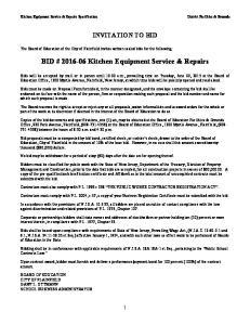 BID # Kitchen Equipment Service & Repairs