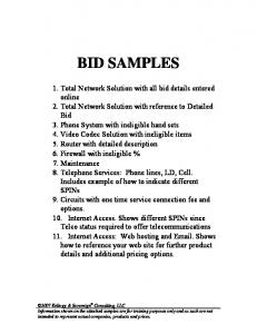 BID SAMPLES. 1. Total Network Solution with all bid details entered online