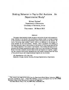 Bidding Behavior in Pay-to-Bid Auctions: An Experimental Study