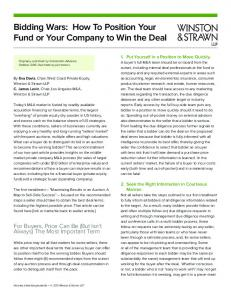 Bidding Wars: How To Position Your Fund or Your Company to Win the Deal