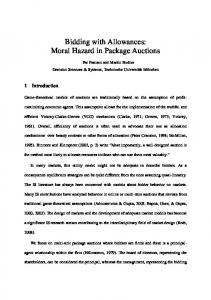 Bidding with Allowances: Moral Hazard in Package Auctions