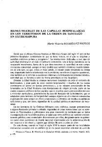 BIENES MUEBLES DE LAS CAPILLAS HOSPITALARIAS EN LOS TERRITORIOS DE LA ORDEN DE SANTIAGO EN EXTREMADURA