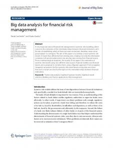 Big data analysis for financial risk management