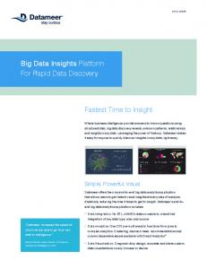Big Data Insights Platform For Rapid Data Discovery. Fastest Time to Insight. Simple, Powerful, Visual