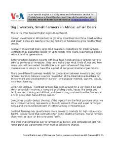 Big Investors, Small Farmers in Africa: a Fair Deal?