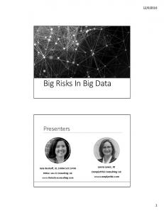 Big Risks In Big Data