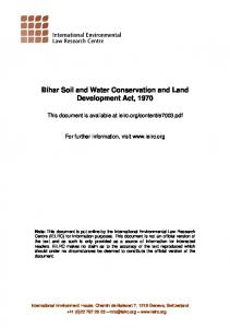 Bihar Soil and Water Conservation and Land Development Act, 1970