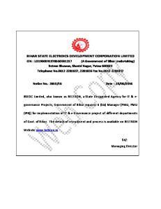BIHAR STATE ELECTROICS DEVELOPMENT CORPORATION LIMITED
