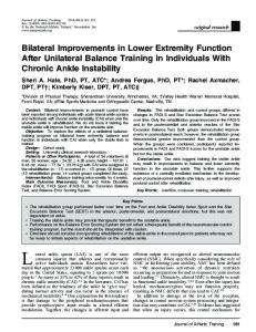 Bilateral Improvements in Lower Extremity Function After Unilateral Balance Training in Individuals With Chronic Ankle Instability