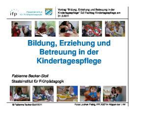 Bildung, Erziehung und Betreuung in der Kindertagespflege
