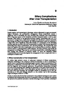 Biliary Complications After Liver Transplantation