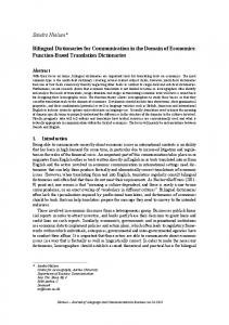 Bilingual Dictionaries for Communication in the Domain of Economics: Function-Based Translation Dictionaries