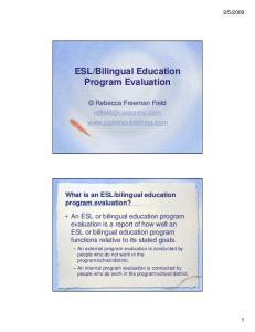 Bilingual Education Program Evaluation