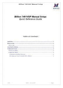 Billion 7401VGP Manual Setup: Quick Reference Guide