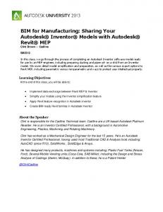 BIM for Manufacturing: Sharing Your Autodesk Inventor Models with Autodesk Revit MEP Clint Brown Cadline