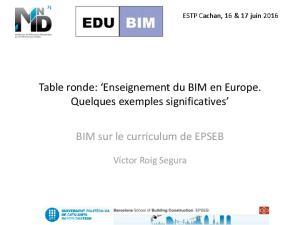 BIM sur le curriculum de EPSEB