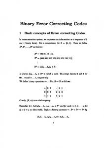Binary Error Correcting Codes