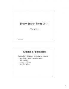Binary Search Trees (11.1) Example Application
