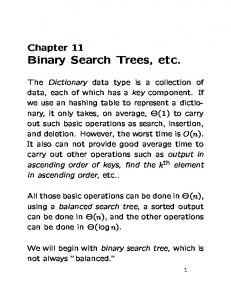 Binary Search Trees, etc