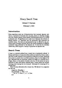 Binary Search Trees. Michael P. Fourman. February 2, 2010