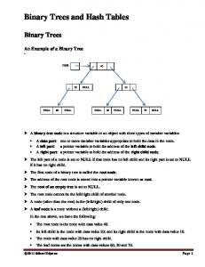Binary Trees and Hash Tables