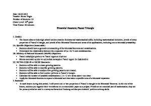 Binomial theorem; Pascal Triangle