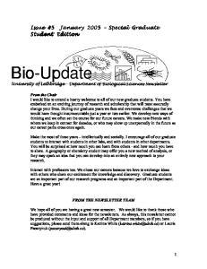 Bio-Update University of Lethbridge - Department of Biological Sciences Newsletter