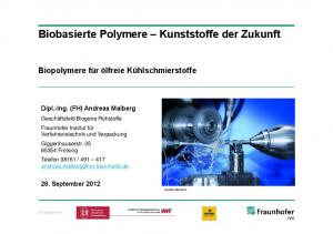 Biobasierte Polymere Kunststoffe der Zukunft