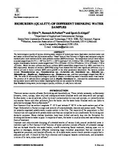 BIOBURDEN (QUALITY) OF DIFFERENT DRINKING WATER SAMPLES