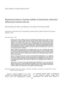 Biochemical analysis of protein stability in human brain collected at different post-mortem intervals