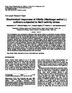Biochemical responses of Alfalfa (Medicago sativa L.) cultivars subjected to NaCl salinity stress