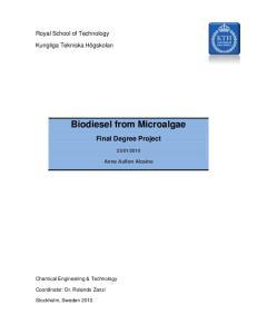 Biodiesel from Microalgae