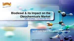 Biodiesel & its Impact on the Oleochemicals Market