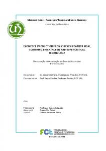 BIODIESEL PRODUCTION FROM CHICKEN FEATHER MEAL,