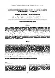 BIODIESEL PRODUCTION FROM WASTE COOKING OIL USING HYDRODINAMIC CAVITATION