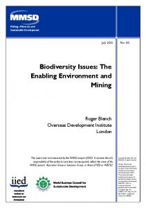 Biodiversity Issues: The Enabling Environment and Mining