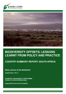 BIODIVERSITY OFFSETS: LESSONS LEARNT FROM POLICY AND PRACTICE