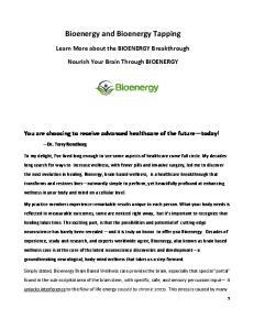 Bioenergy and Bioenergy Tapping