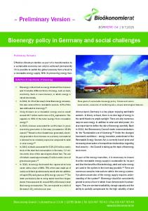 Bioenergy policy in Germany and social challenges