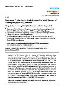 Bioethanol Production by Carbohydrate-Enriched Biomass of Arthrospira (Spirulina) platensis