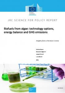 Biofuels from algae: technology options, energy balance and GHG emissions