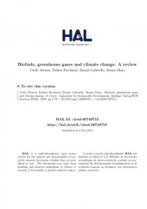 Biofuels, greenhouse gases and climate change. A review
